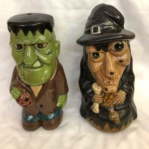 Dynagood Holiday - Vintage Dynagood Blow Mold Witch & Monster Figures